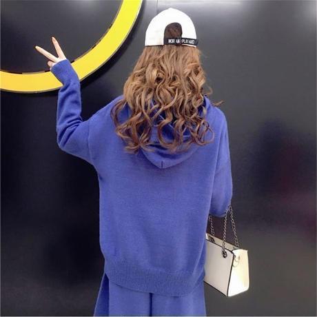 セットアップ❤パーカー可愛い、オルチャンファッション!ダボダボスウェットセットアップ!トップスはフィッシュテールのようなデザイン hdfks961747