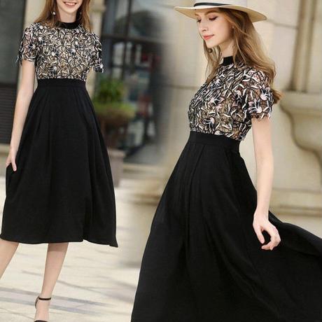 ワンピース❤韓国ドレス レーストップにブラックスカートでセレブ女子のドレスワンピ hdfks962287