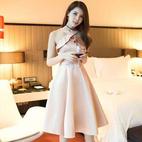 ワンピース❤韓国ドレス バックオープンホルターネックなセクシー可愛いミニドレス hdfks962291