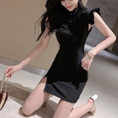 ワンピース❤韓国パーティードレス フリル可愛いチャイナドレス風のブラックドレス hdfks962394
