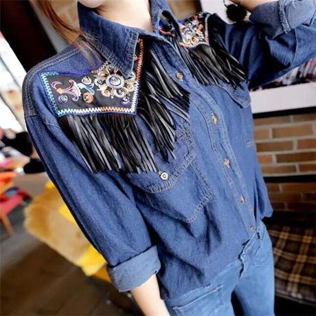 トップス❤デニムフリンジで黒っぽいショートスカートなんかがよく似合うシャツ! hdfks957423