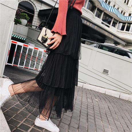 ワンピース❤セットアップ ティアードなチュールスカートと袖フレアなニットの組み合わせ hdfks958114
