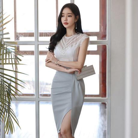 ツーピース❤韓国ドレス 清楚でタイトな夏のワンピース hdfks962240
