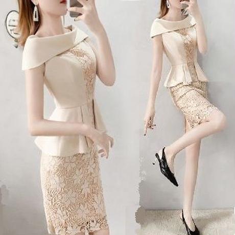 ワンピース❤韓国パーティードレス ペプラムお洒落エレガントなタイトドレス hdfks962408