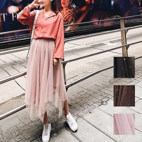スカート❤ワンポイントでドットなパールありのレース感が可愛いスカート hdfks958117