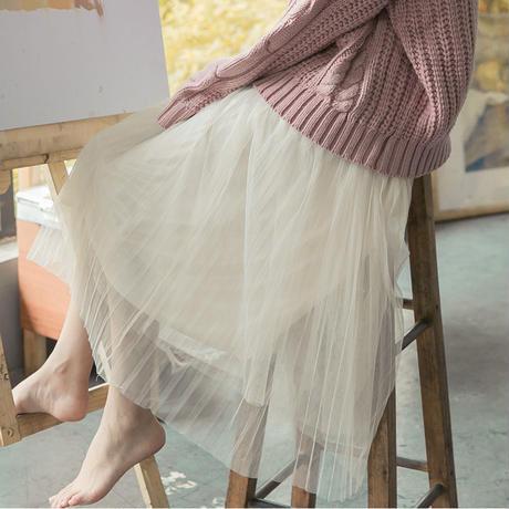 スカート❤ほんわかかわいい韓国ファッション!チュールスカート hdfks958036