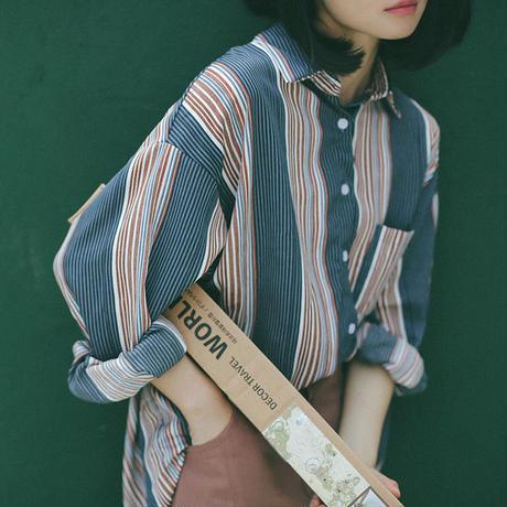 トップス❤ストライプ 大きいビッグシルエットのシャツ♪ hdfks960062