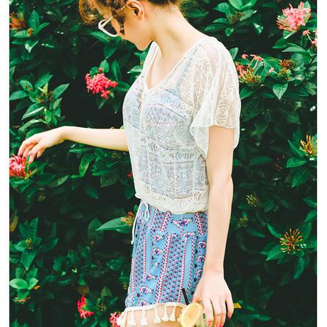 水着❤4点セット 可愛い花柄❤ビキニ・キャミ・パンツ・ブラウスの水着セット♪ hdfks960059