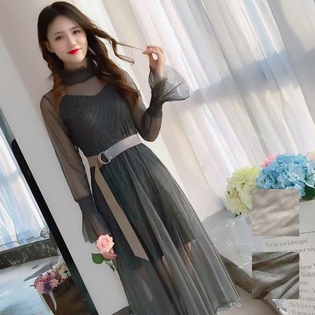ワンピース❤今年流行のチュールスカートが素敵な袖フレアワンピ hdfks958174