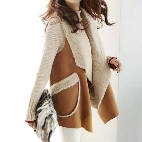 ベスト❤大人デザインな羊さん羊毛ふわふわ可愛いファーベスト hdfks961808