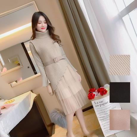 ドレス❤ワンピース 透け感あるスカートと袖フレアな上品清楚なワンピース hdfks958097