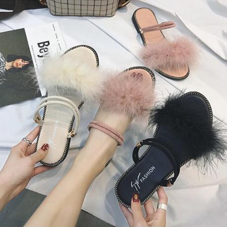 フラットファーサンダル❤韓国ファッションふわふわファーのとっても可愛いフラットサンダル!! hdfks961477