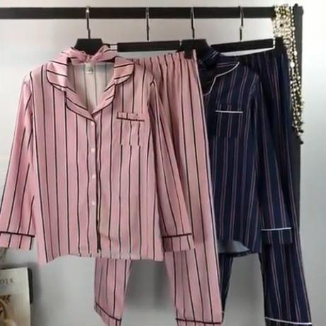 パジャマ❤お洒落で可愛いストライプ韓国パジャマの長袖半袖! hdfks961641
