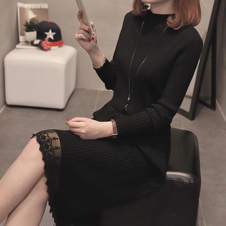 ワンピース❤裾レースが上品なシンプルニットワンピ hdfks962458