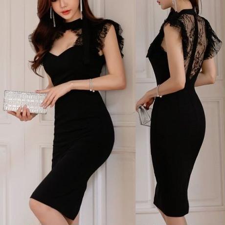 ワンピース❤韓国ドレス 首元胸元セクシー可愛いバックオープン花柄レースのブラックタイトドレス hdfks962351