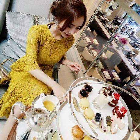 ワンピース❤韓国ドレス お呼ばれに使える総レースの大人可愛いドレス hdfks962197