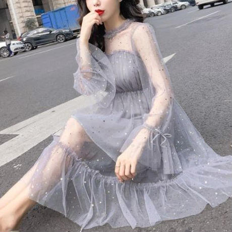ワンピース❤プチプラドレス 小さなスパンコールのふんわり可愛いフェアリーフェミニンガーリードレス hdfks962373
