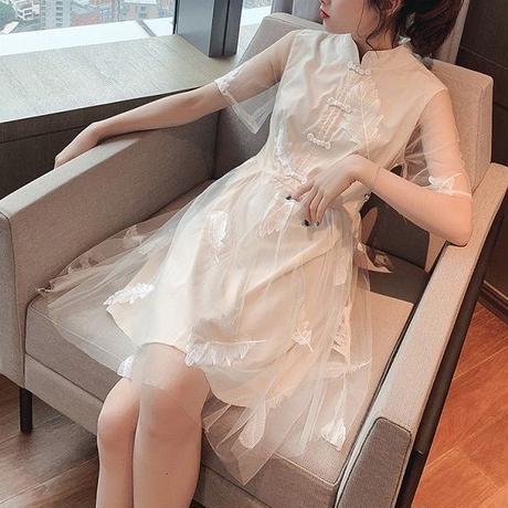 ワンピース❤韓国パーティードレス お嬢様可愛いホワイト清楚なミニワンピ hdfks962407