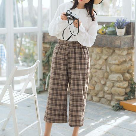 パンツ❤チェックで可愛い7分丈韓国ファッションズボン! hdfks958315