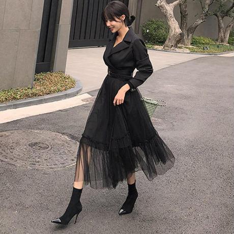 ワンピース❤トップはフォーマルスーツのようで、スカートはチュールスカートと個性的ワンピ hdfks961934