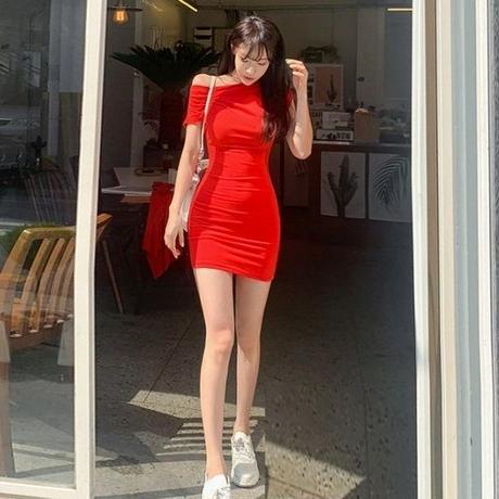 ワンピース❤タイトミニにラップの巻きスカートでセクシーお洒落なレッドワンピ hdfks962260