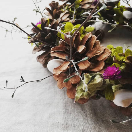 木の実とお花とシェルのリース 211