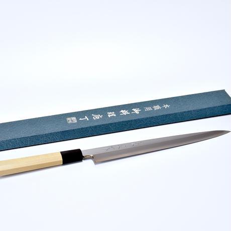 青紙柳刃包丁240mm 本霞研ぎ 水牛八角柄(本職用)