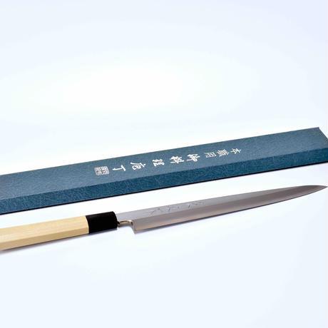 青紙柳刃包丁270mm 本霞研ぎ 水牛八角柄(本職用)