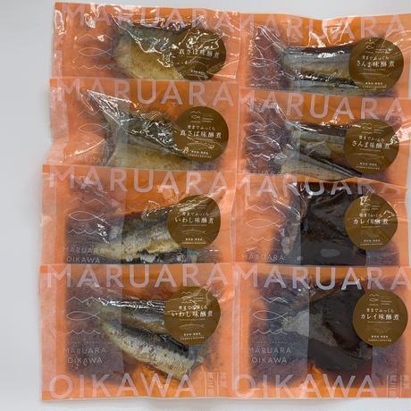 「骨までおいしいお魚シリーズ」味醂煮4種(さば・さんま・いわし・かれい)×2切れ セット  のコピー