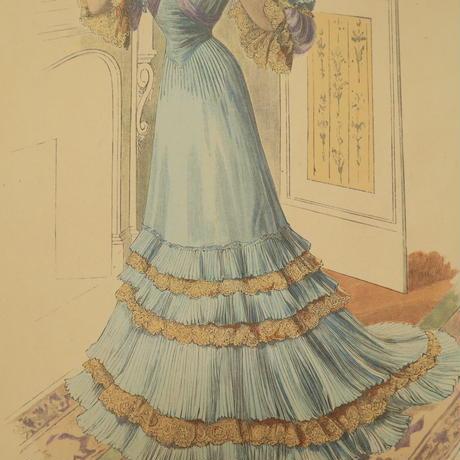 A011【版画複製版】フランスアンティーク 貴婦人 ファッション誌『La Mode illustree』2枚 ⑥