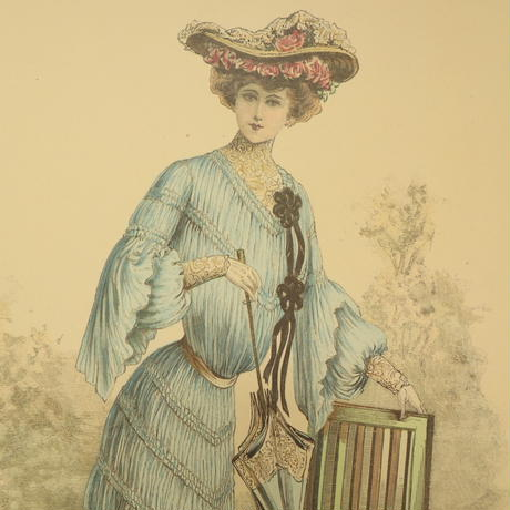 A013【版画複製版】フランスアンティーク 貴婦人 ファッション誌『La Mode illustree』2枚 ⑧
