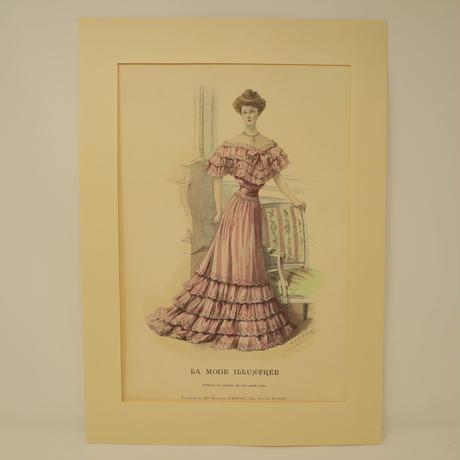 A010【版画複製版】フランスアンティーク 貴婦人 ファッション誌『La Mode illustree』2枚 ⑤