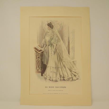 A008【版画複製版】フランスアンティーク 貴婦人 ファッション誌『La Mode illustree』2枚 ③