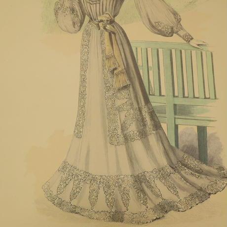 A009【版画複製版】フランスアンティーク 貴婦人 ファッション誌『La Mode illustree』2枚 ④