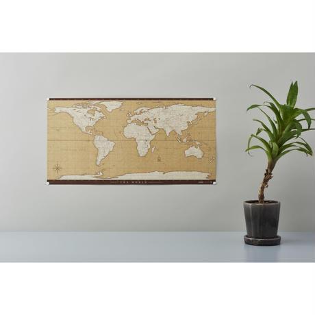 テーブルに置いて、壁に貼って [アンティーク] 自立式世界地図