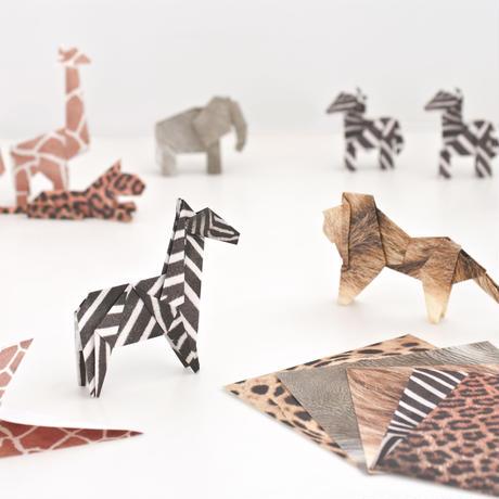 折り紙 A キリン ゾウ チーター