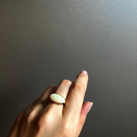 〈  H様 専用ページ  〉 ネット限定 虹色の川 天然 ホワイトオパール K18 リング 【商品動画あり】