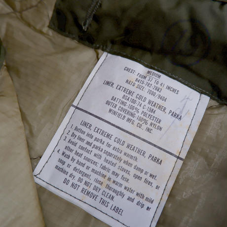 M-65 キルティッグライナージャケット/オリジナルリメイク/size-MEDIUM