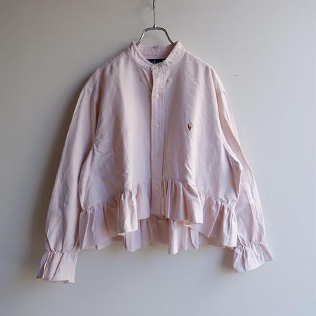 【ORIGNAL REMAKE】Remake gather frill shirt/Pink beige-1