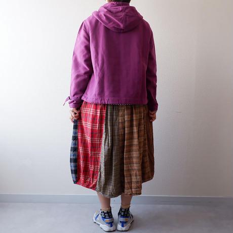 TIGRE BROCANTE( ティグルブロカンテ)/ミックスネルチェックバレルロングスカート/beige