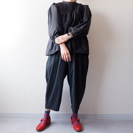 HARVESTY (ハーベスティ)/T/R WIDE EGG CROPPED PANTS /charcoal