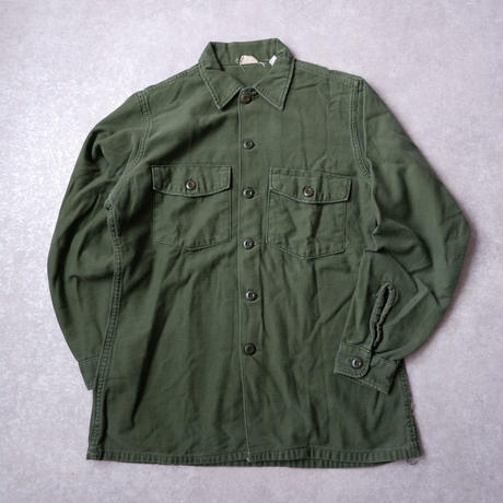"【vintage】70s US Army Utility Shirts ""All Cotton""/solid"