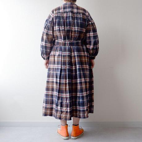 UNIVERSAL TISSU (ユニバーサルティシュ)/クラシックギャザーシャツドレス/brown check