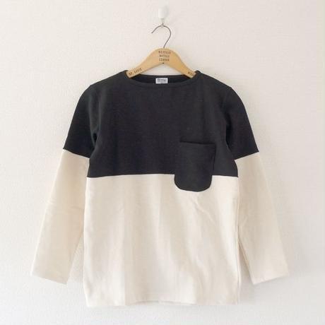 Tieasy(ティージー)/ HDCS ボートネック 切り替え バスクシャツ Natural×Black