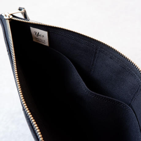 yes crafts/SQUARE POUCH-(L) / スクエア ポーチL/ Black-2