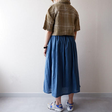 SLOW HANDS(スローハンズ)/Jugard Vertical PW Gather Skirt/blue