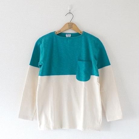 』Tieasy(ティージー)/ HDCS ボートネック 切り替え バスクシャツ Natural×Green