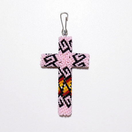 ☆女性にもお奨めです☆INDIAN JEWELRY/  beads cross necklace top/navajo/ pink