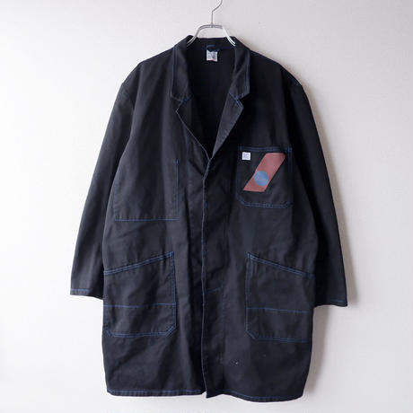 【Black-overdye】euro work coat /Blue stitch
