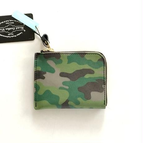 React Leather Works(リアクト レザー ワークス)/Ink- jet Print L-Fastener Short Wallet WOODLAND CAMO
